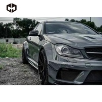 Portion Carbon Front Rear Bumper Side Skirts Fender Canard Hood Black Series Wide Body Kit for Mercedes W204 C63 AMG Sedan Coupe