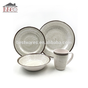 Cheap China Eco Grey Melamine Plastic Dinnerware Set