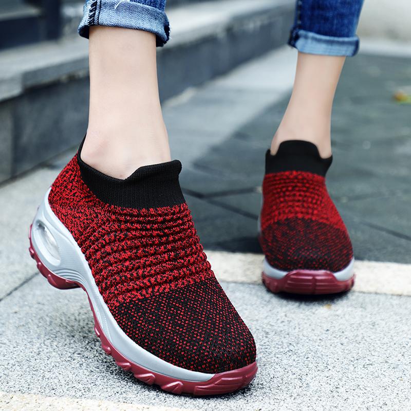 Custom Breathable wedges Socks Sneakers Outdoor Mesh Height Increasing Female Ladies Footwear Women Sport Shoes chaussure femme