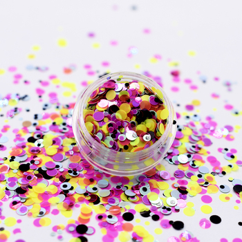 Fine glitter Mixed size 1mm 2mm 3mm dot circle shape glitter unique colors sequin chunky glitter powder