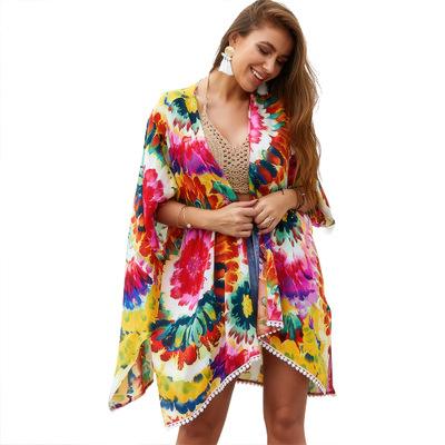 691901a8ad 2019 Beach Cover up Swimsuit Kimono Cardigan Bohemian Floral Print Shawl  Wrap