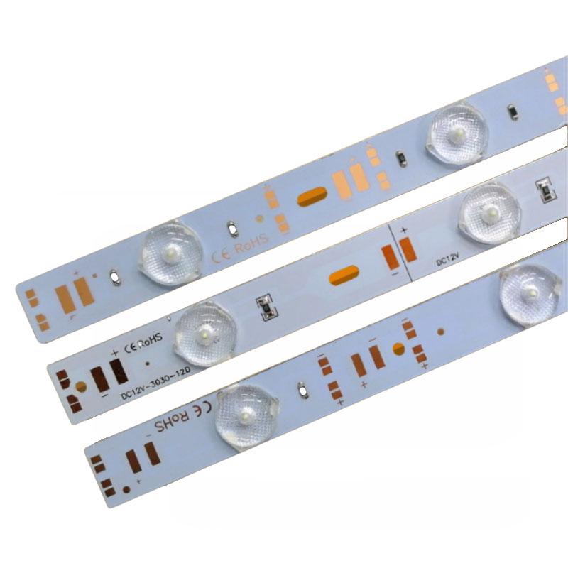 12V Rigid led strip light with lens diffuse Reflection SMD3030 12leds per meter led lattice back light 3030 module bar