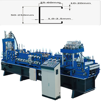 China factory CE ISO Professinal  c50-250mm c channel steel roll forming machine for Construction