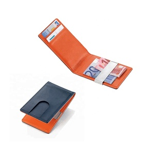 ISO Certificate soft folding metal money clip leather credit card holder supplier