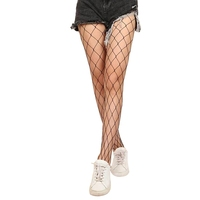 Chic Leisure Sexy Geometric Diamond Pattern Black Fishnet Thigh High Socks Stockings for Women