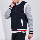OEM Design 60%Cotton 40%Polyester Stripe Neck And Cuff Snap Button For Jacket Anti-pilling Embroidery Men Baseball Jacket