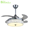 Modern minimalist creative crystal design living room chrome LED ceilling fan Chandelier