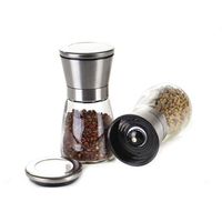 China Sea Salt mini Grinder Manufacture Wholesale Stainless Steel hand made salt and pepper grinder set with Glass Bottle