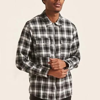 Spring Classic Plaid Custom Long Sleeve Shirt Check Shirt Men With Chest Pocket