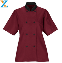 Chef clothes uniforms chef working wear clothing and clothes with short sleeve and covered button in high quality