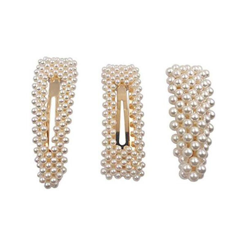2019 Gift fashion women pearl hairpin gold and silver hair accessories clip for bride square handmade Hair Barrettes