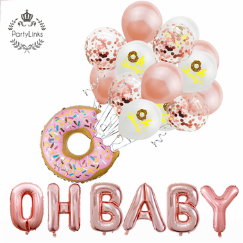 Baby Shower Rose Gold Oh Baby Gender Reveal Letter Foil Balloons Donut Party Decorations Set