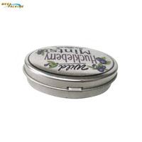 Small oval tinplate box tin container for mints/pills packing storage