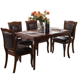 DF solid wood french leg MDF veneered top cherry finishing KD dining table sets