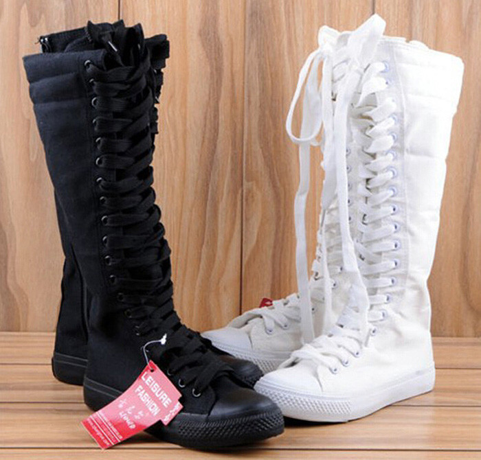 8b04ec6ad29762 ... New style on list fashion Womens Canvas Lace Up Knee High Boots Sneakers  Flat Casual Tall ...