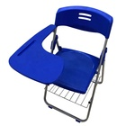 Popular School Furniture Folding Study Chair with Writing Pad Students Class Used Plastic Chairs with Book Shelf