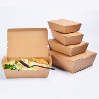 Promotion disposable kraft paper meal box takeaway fast food grade package box of chicken wings