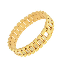 Mens HipHop <span class=keywords><strong>Bling</strong></span> CZ Jóias <span class=keywords><strong>Acessórios</strong></span> 24 K Bracelete de Ouro