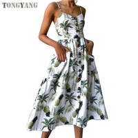 TONGYANG Summer Women Dress 2019 Vintage Sexy Bohemian Floral Printed Beach Dress 36 Different Colors