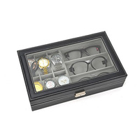 Leather Watch Box 6 slots and Eyeglasses Storage 3 slots Sunglass Glasses Display Case Organizer Black