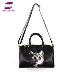 fa764034af9 Guangzhou factory custom printed leather bag retro fashion women boston  handbag with cat oil printing