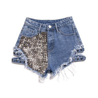 Z95096B Women's fashion washed rivets stitching denim shorts