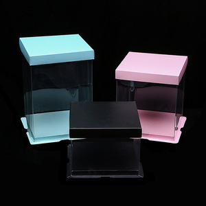 High Quality Custom Made Transparent PET Plastic Clear Decorative Wedding Golden Square Cake Box