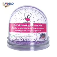 2019 OEM China Manufactures acrylic photo insert glitter snow plastic photo frame snow globe