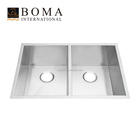 Small Undermount Stainless Steel Double Basin Kitchen Sink With Drainboard