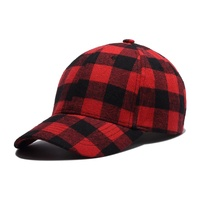 custom red and black plaid fabric top mens hats blank baseball hat with custom embroidered logo leather patch logo