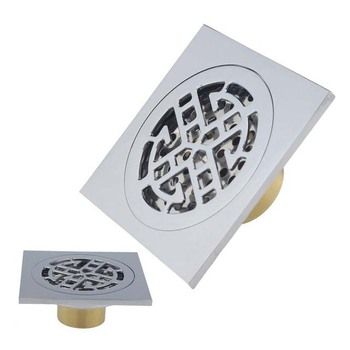 Anti-odor Cover Bathroom Accessory Brass Square Shower Floor Waste Drain