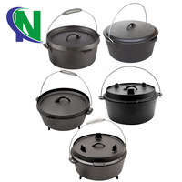 Hot Selling cast iron cookware sets outdoor camping 3 pieces preseasoned round cast iron dutch oven sets