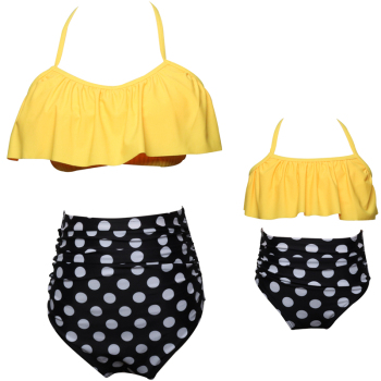 Girls Two Pieces Swimsuit Falbala Bikini Sets Family Matching Swimwear
