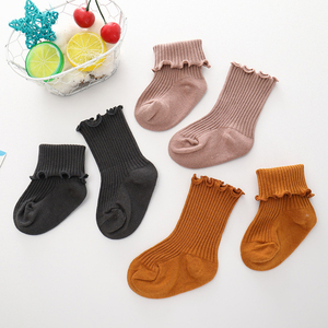 Wholesale Breathable Cute Ribbed Infant Baby Socks Colorful Cotton Kids Ruffle Socks