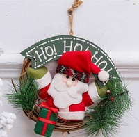 Personalized Christmas door decoration rattan wreath with hanging santa doll
