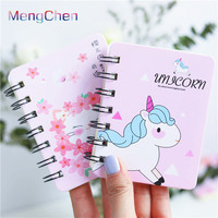 Spain cheap funny unicorn stationery set custom design printing gift school mini spiral writing notebooks for girls 026