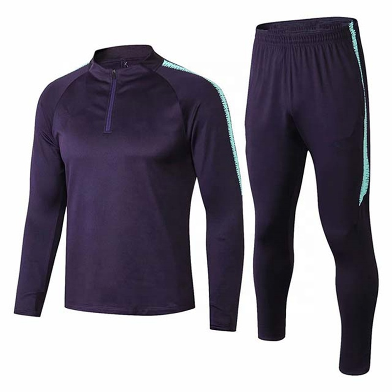 Wholesale Blank Cheap Football Tracksuit Men Gym Long Sleeve Sweater Suit, Any color is available
