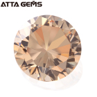 Diamond Cut CZ Champagne Round Shaped Loose Cubic Zirconia Prices Per Carat