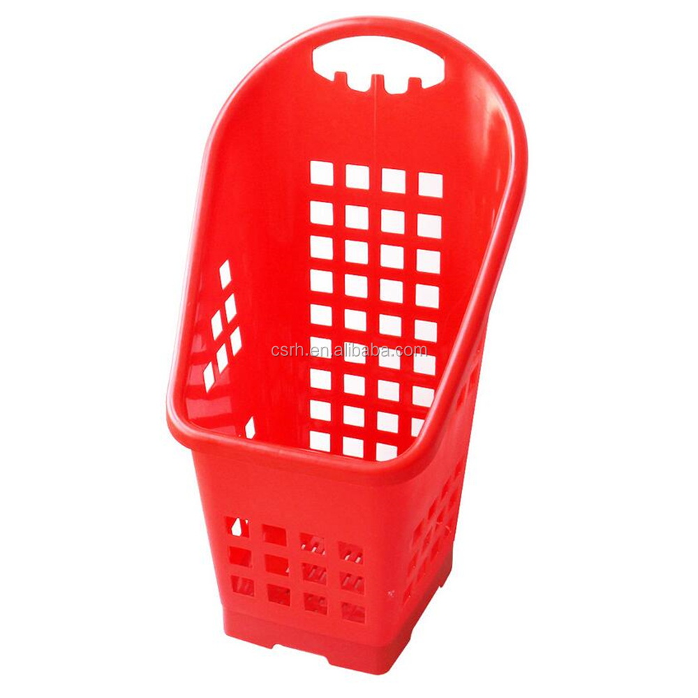 RH-BPR50-T 460*470*870mm 50L supermarket plastic fashionable trolley shopping basket rolling shopping basket with wheels
