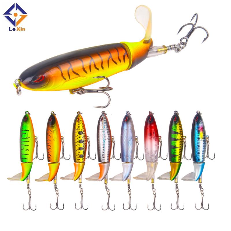 10cm/13.2g Topwater Floating Whopper Popper Lure Hooks Hard Bait propeller Fishing Lures, Multi colors