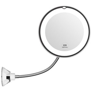 Dropshipping 360 Degree 10X Folding  Rotating Makeup Mirror My Flexible Magnifying Makeup Mirror with LED Light