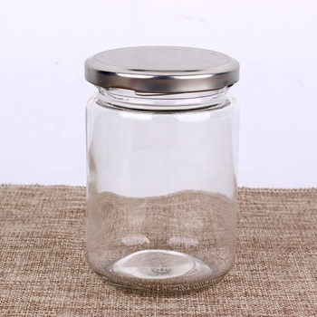 Importers 350ml clear jam Pickles jar glass jar with metal screw lid