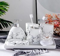 New creative marbled wash five-piece bathroom ceramic Marble accessories toothbrush wash set