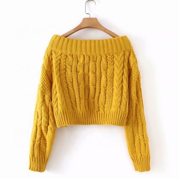 Fashionable Women's Short Sweater Long Sleeve Off Shoulder Cable Knitted Top Knitwear