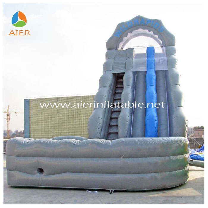 Gray inflatable wave waterfall pool slide, commercial used slide for sale