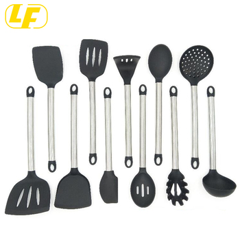 11 Silicone Cooking Utensils Kitchen Utensil set - Stainless Steel Silicone  Kitchen Utensils Set, View silcone Kitchen Utensils Sets, Longfa Product ...