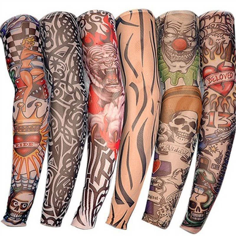 Professional Sale Anti-sunshine Fashion Men And Women Tattoo Arm Leg Sleeves High Elastic Nylon Halloween Party Dance Party Tattoo Sleeve Apparel Accessories