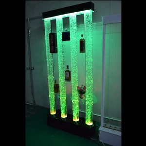 Luxury wine cabinet led water bubble tube lighting bar display cabinet