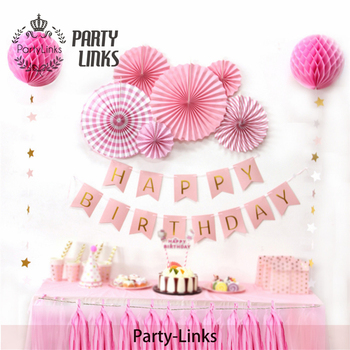 Pink Princess Backdrop Decorations Supplies Paper Kits Party Decoration Happy Birthday