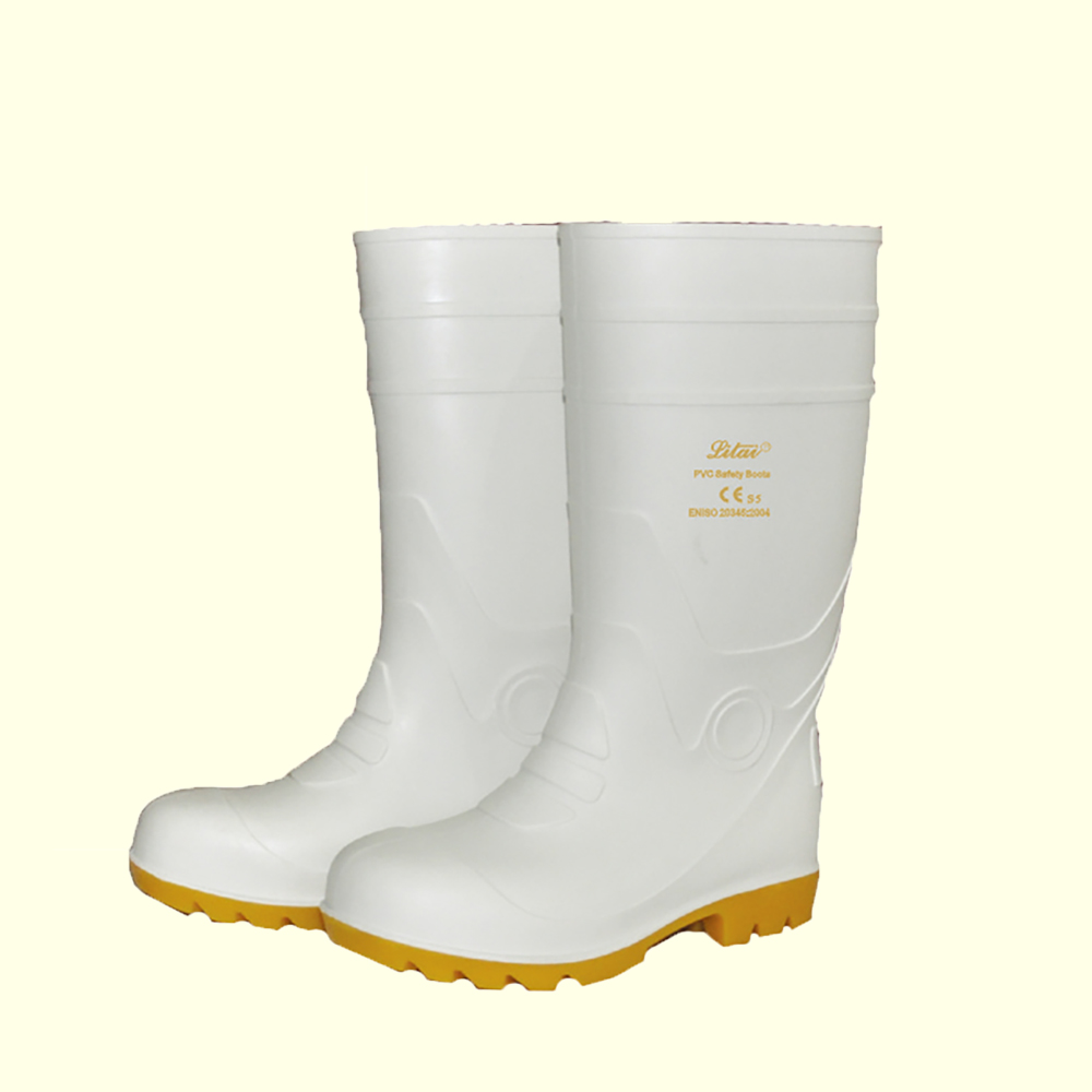 White food industry steel toe pvc safety boot